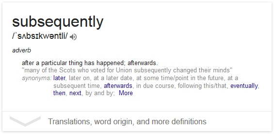 subsequently