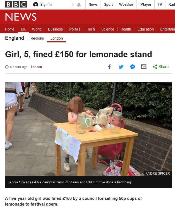 ... girl who'd been selling homemade lemonade for 50p a cup from a little  table in the street near her house to people going to a local music  festival.