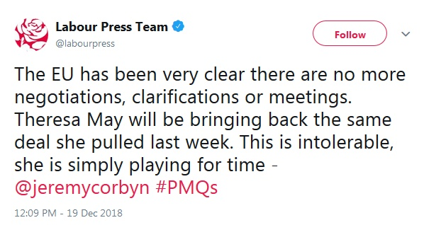 """bb3d705fd5e0 So if it's """"very clear"""" that there can be """"no more negotiations"""" (and  therefore no better deal), and Labour is going to vote against Theresa  May's deal ..."""